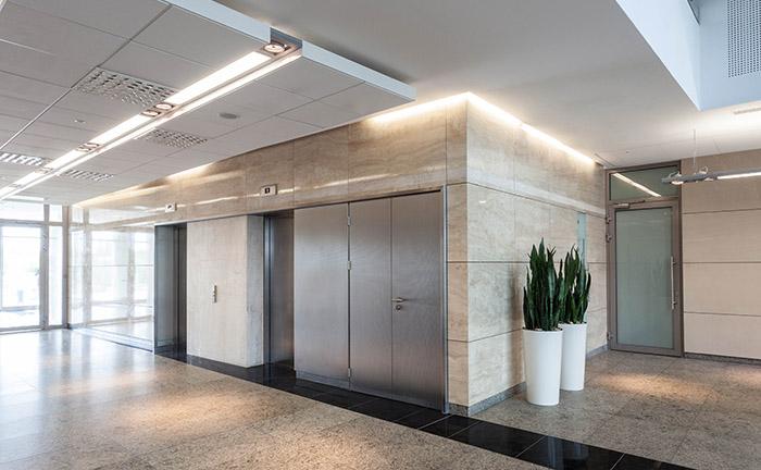 Modern business centre, corridor and elevators