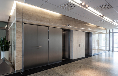 Modern interior of office, corridor and lift